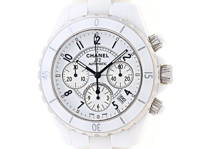 [送料無料]CHANEL シャネル 時計 J12 クロノグラフ H1007 オートマチック 41mm メンズ ホワイトセラミック 163.6g【430】【中古】【大黒屋】