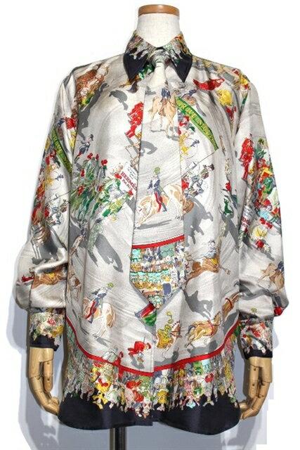 HERMES エルメス 柄シャツ オーバーシャツ レディース36 マルチ 馬 シルク ネクタイ付き【200】【中古】【大黒屋】