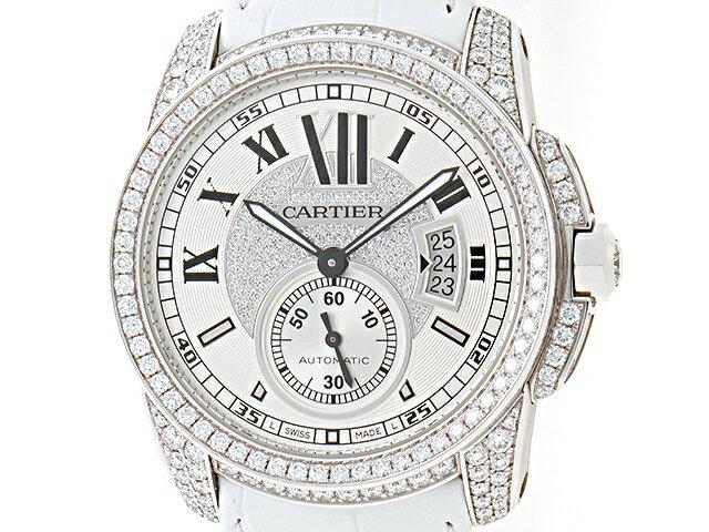 【送料無料】Cartier カルティエ カリブル ドゥ カルティエ WF100007 ダイヤ メンズ 自動巻き ホワイトゴールド WG 革【430】【中古】【大黒屋】