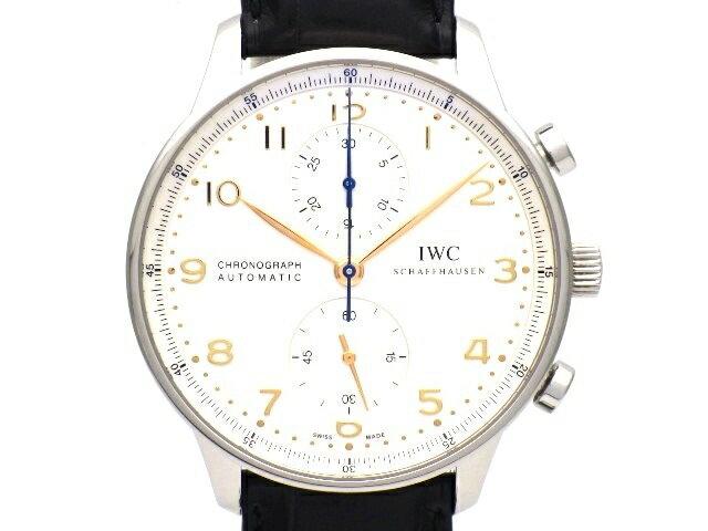 【送料無料】IWC ポルトギーゼ クロノ オートマチック IW371445 ステンレス 革ベルト メンズ 【438】【中古】【大黒屋】