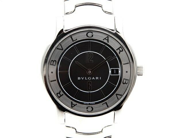 【送料無料】BVLGARI ブルガリ 時計 ソロテンポ ST35S 黒文字盤 クォーツ ステンレススチール 【439】【中古】【大黒屋】
