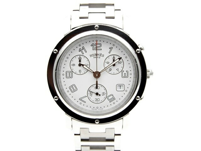 【送料無料】HERMES エルメス 時計 クリッパークロノ CL1.190 白文字盤 クォーツ 【439】【中古】【大黒屋】
