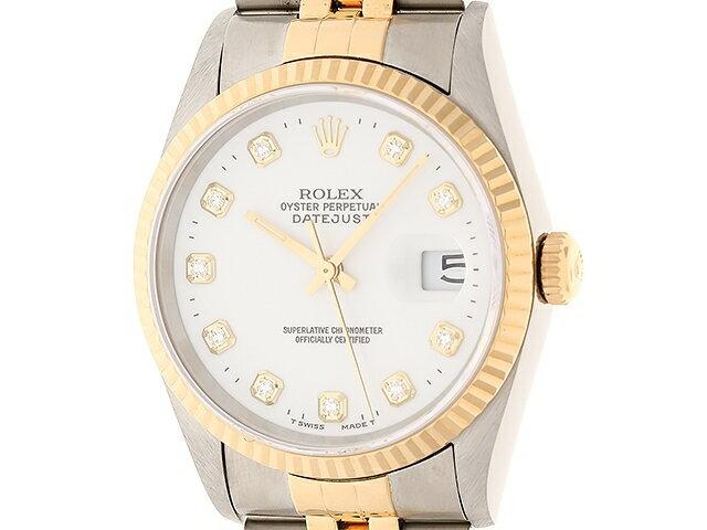 【送料無料】ROLEX ロレックス 時計 デイトジャスト 16233G 10PD イエローゴールド ステンレス オートマチック ホワイト W番 【474】【中古】【大黒屋】
