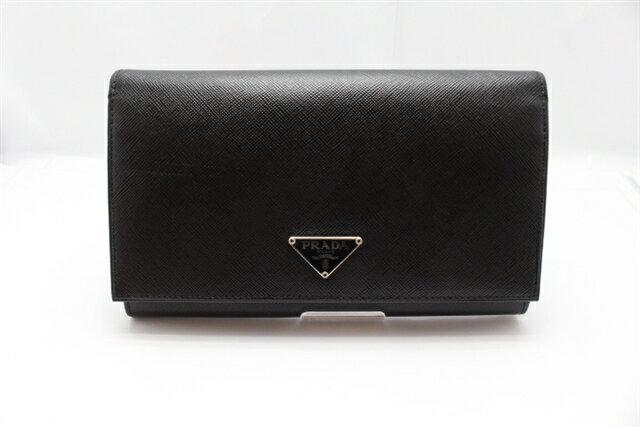 プラダ PRADA 長財布 型押し 黒色 M608A 【474】【中古】【大黒屋】