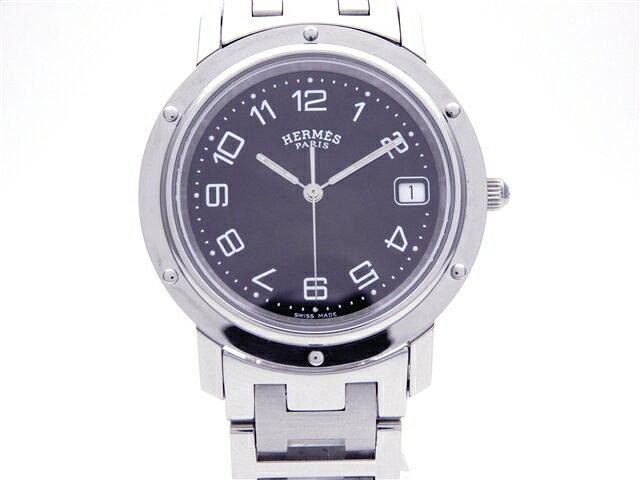 HERMES 時計 クリッパー CL6.710 クオーツ SS ブラック文字盤【送料無料】【 439】【中古】【大黒屋】