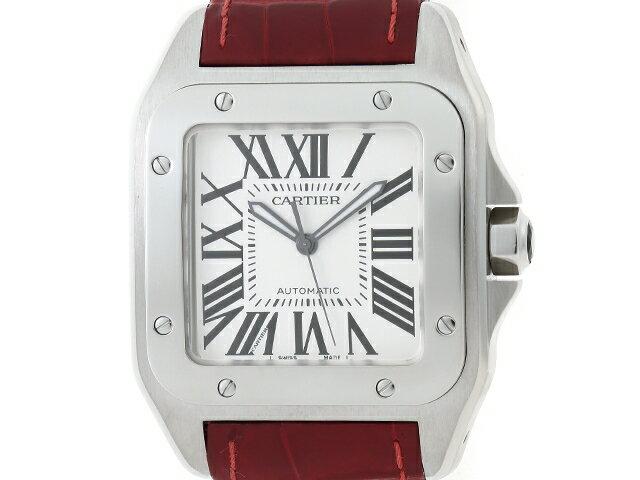 【送料無料】Cartier カルティエ 時計 サントス100LM  オートマチック ホワイト文字盤 W20073X8 メンズ ステンレススチール 革 【205】【中古】【大黒屋】