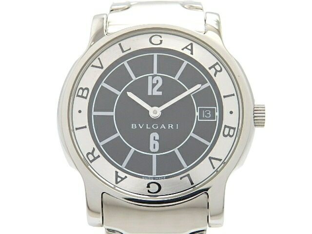 [送料無料]BVLGARI ブルガリ 時計 ソロテンポ ST35S ステンレス クオーツ ブラック 【474】【中古】【大黒屋】