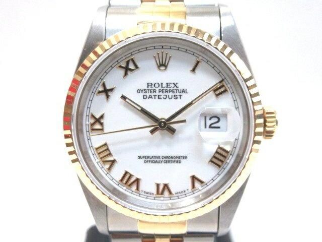 【送料無料】ROLEX ロレックス デイトジャスト 16233 ホワイトローマ文字盤 メンズ腕時計【413】【中古】【大黒屋】