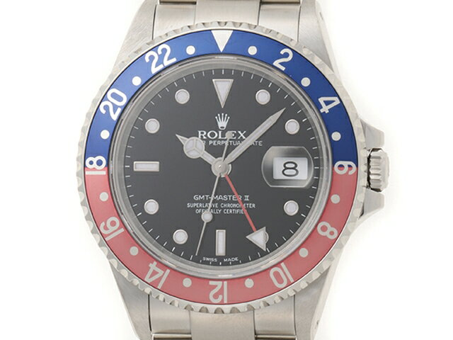 【送料無料】ROLEX ロレックス GMTマスター2 16710 A番 赤青ベゼル ブラック文字盤 オートマチック【204】【中古】【大黒屋】