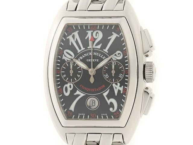 【送料無料】FRANCK MULLER 時計 フランクミュラー コンキスタドール クロノ 8001CC SS ブラック 【460】【中古】【大黒屋】