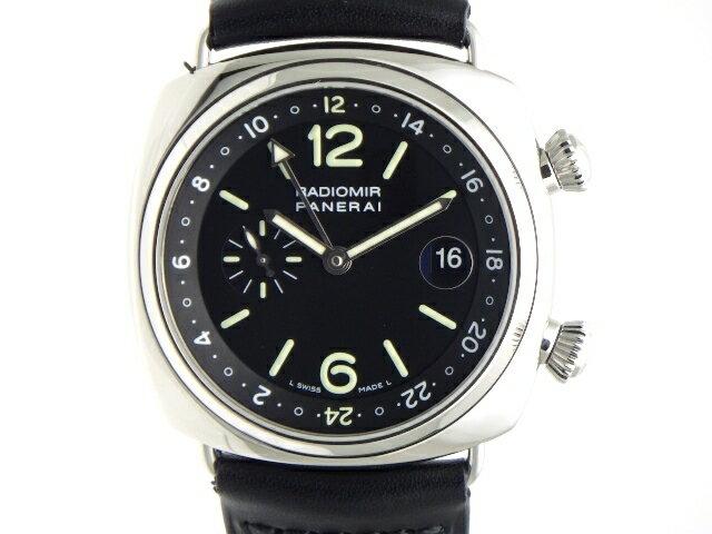 【送料無料】PANERAI  メンズ 時計 オートマチック  ラジオミール GMT 生産終了モデル PAM00184 SS/革ベルト Dバックル ブラック 【436】【中古】【大黒屋】