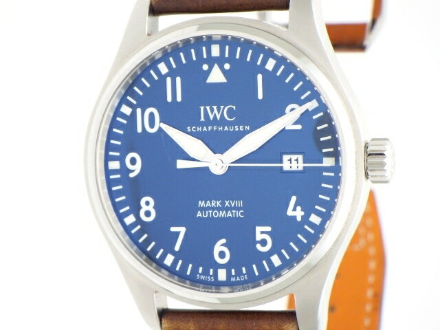【送料無料】IWC インターナショナルウォッチカンパニー メンズ  時計  オートマチック マーク18 プティ・プランス IW327004 SS 革 ブルー 60m防水 【436】【中古】【大黒屋】