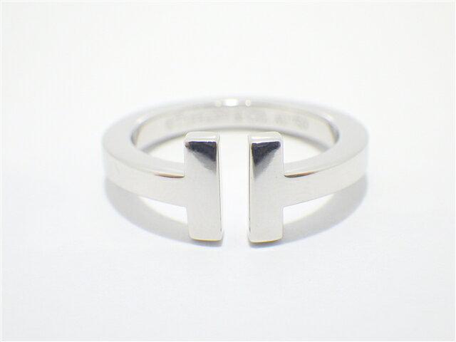 【送料無料】TIFFANY&CO ティファニー Tスクエア リング K18WG 12号【438】【中古】【大黒屋】