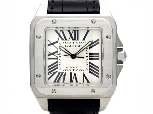 【送料無料】Cartier カルティエ 時計 サントス100 LM W20073X8 メンズ オートマチック ステンレス ブラッククロコ革ベルト シルバーローマ文字盤 【437】【中古】【大黒屋】