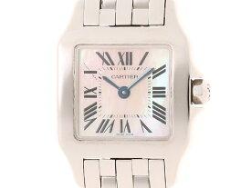 【送料無料】Cartier 時計 サントスドゥモアゼルSM クオーツ ピンクシェル文字盤 ステンレススチール【432】【中古】【大黒屋】