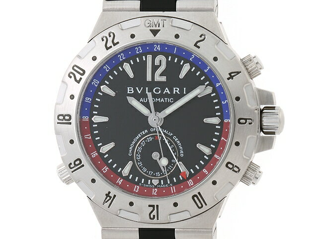 【送料無料】BVLGARI 時計 オートマチック ディアゴノ プロフェッショナルGMT ブラック GMT40S【411】【中古】【大黒屋】