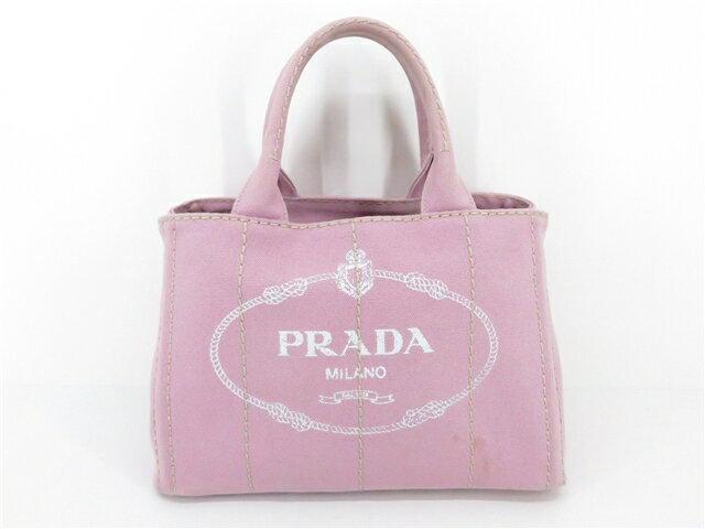 PRADA プラダ ミニカナパ カナパ ハンドバッグ ショルダーバッグ バッグ キャンバス ピンク 【203】【中古】【大黒屋】