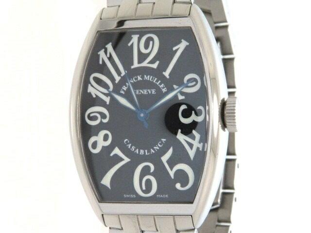 【送料無料】FRANCK MULLER フランクミュラー 時計 カサブランカ 5850 オートマチック ステンレススチール 黒文字盤 118.0g 【432】【中古】【大黒屋】