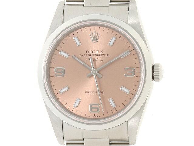 【送料無料】ROLEX ロレックス エアキング 14000M F番 ピンク369 生産終了モデル メンズ 自動巻き ステンレス SS【430】【中古】【大黒屋】