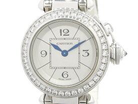 【送料無料】Cartier カルティエ 時計 ミスパシャ ダイヤベゼル ブレスセンターダイヤ WJ124018 ホワイトゴールド WG クオーツ シルバー文字盤 【200】【中古】【大黒屋】