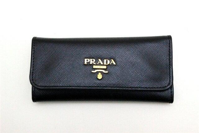 PRADA プラダ キーケース 6連キーケース サフィアーノ ブラック 1M0223【470】【中古】【大黒屋】