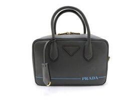 【送料無料】PRADA プラダ バッグ ハンドバッグ ミラージュ カーフ グレー【430】【中古】【大黒屋】