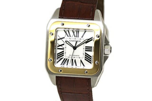 【送料無料】Cartier カルティエ W20072X7 時計 サントス 100 オートマチック メンズ イエローゴールド×ステンレス 革 ホワイト文字盤【430】【中古】【大黒屋】