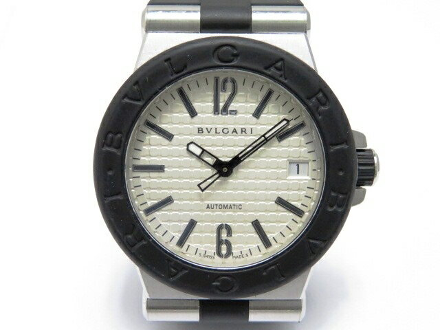 【送料無料】BVLGARI 時計 ディアゴノ DG35SV オートマチック 白文字盤 メンズ SS/ラバー【430】【中古】【大黒屋】