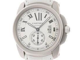 【送料無料】Cartier カルティエ 時計 カリブルドゥカルティエ W7100037 シルバー文字盤 ステンレススチール 革 オートマチック 90.9g 【203】【中古】【大黒屋】