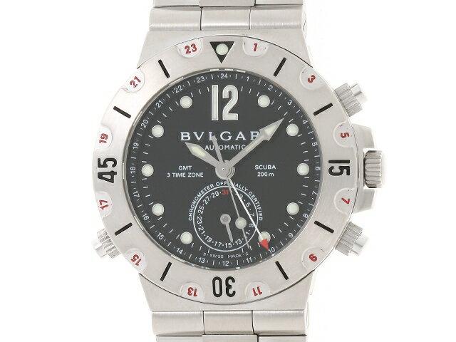 【送料無料】BVLGARI ブルガリ 時計 オートマチック ディアゴノ スクーバGMT SS SD38SGMT【204】【中古】【大黒屋】