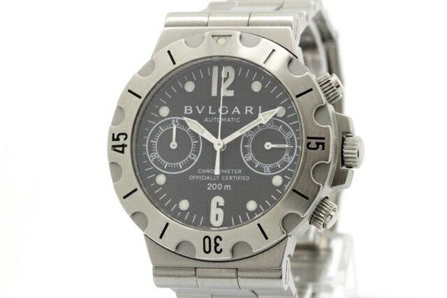 【送料無料】BVLGARI ブルガリ 時計 メンズ スクーバクロノ オートマチック SCB38S 黒文字盤 SS 【438】【中古】【大黒屋】
