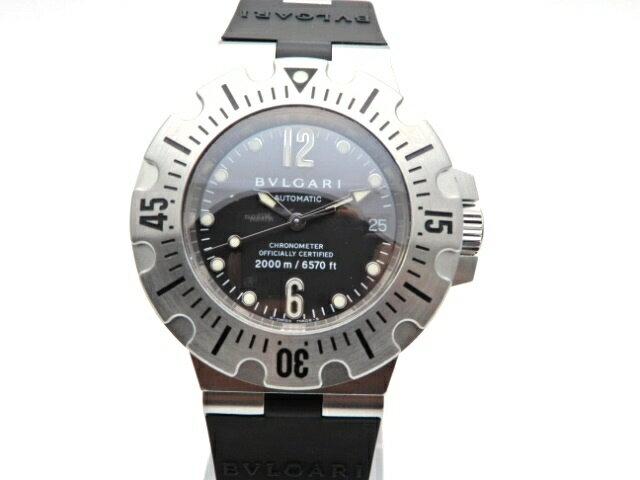 【送料無料】BVLGARI 時計 ディアゴノ スクーバ SD42S オートマチック SS ラバー ブラック文字盤【439】【中古】【大黒屋】