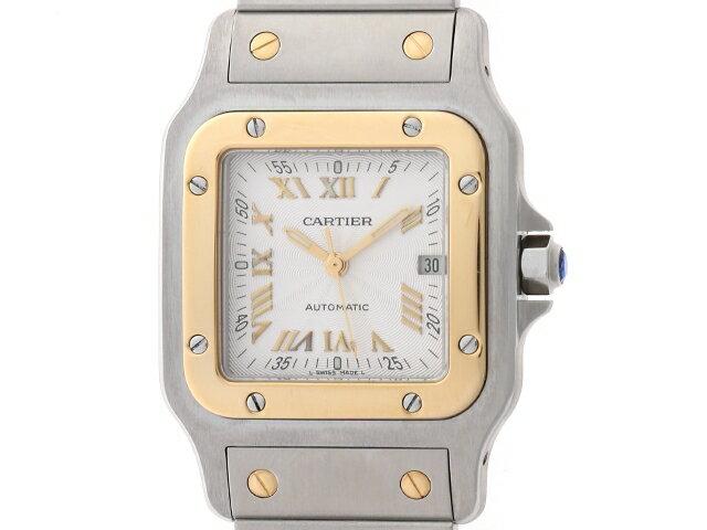 【送料無料】Cartier 時計 サントス ガルベ LM オートマチック SS YG シルバーギョーシェ文字盤【439】【中古】【大黒屋】