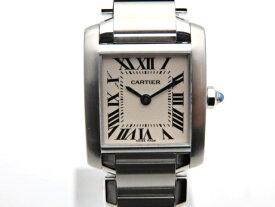 【送料無料】Cartier 時計 タンクフランセーズSM W51008Q3 クオーツ SS アイボリー文字盤【439】【中古】【大黒屋】