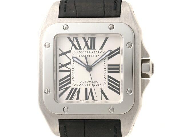 【送料無料】Cartier 時計 サントス100 LM W20073X8 オートマチック SS 革 アイボリー文字盤【439】【中古】【大黒屋】