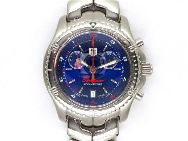 【送料無料】TAG HEUER タグホイヤー 時計 リンク・クロノ シーレーサー CT1115 SS ブルー クオーツ メンズ 【438】【中古】【大黒屋】