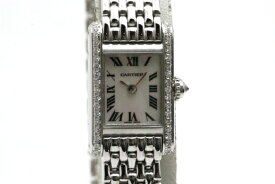 【送料無料】Cartier カルティエ ミニタンク ホワイトシェル WB2032U3 アジア限定 ダイヤベゼル WG ホワイトゴールド【472】【中古】【大黒屋】
