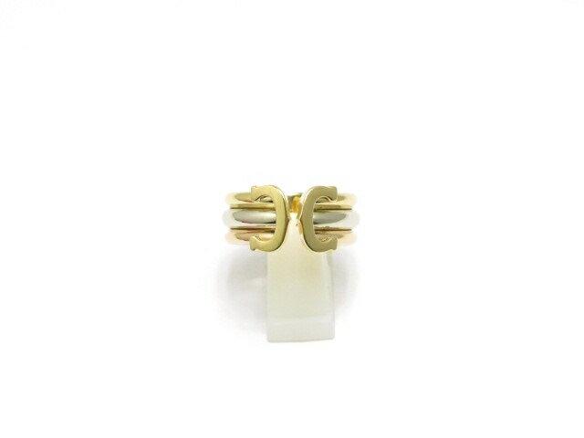 【送料無料】Cartier カルティエ C2 ワイド 3カラー リング イエローゴールド ホワイトゴールド ピンクゴールド 9.2g 57号 箱付き【430】【中古】【大黒屋】