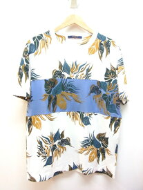 LOUIS VUITTON ルイヴィトン Tシャツ メンズM コットン ホワイト ブルー グリーン 葉【432】【中古】【大黒屋】