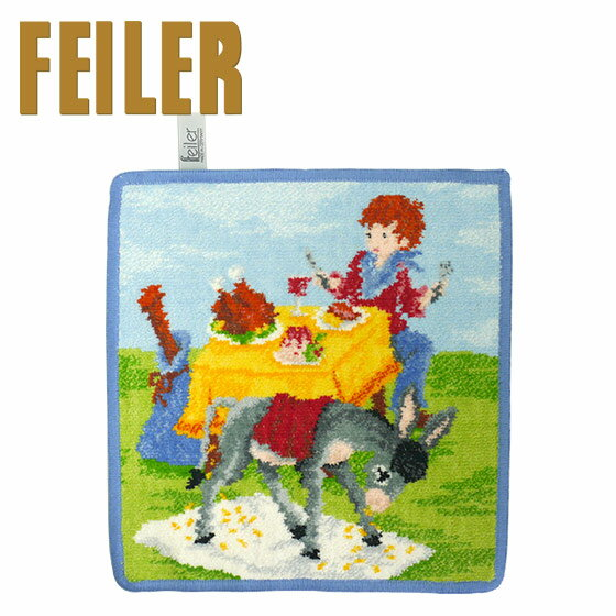 FEILER フェイラー ハンカチ タオル 25cm グリム童話 おぜんやご飯のしたくと金貨を生む騾馬と棍棒袋から出ろ Wash Cloth Towel Fairy tales ギフト・のし可