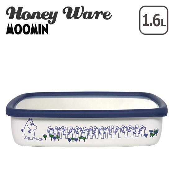 【ポイント20倍】Honey Ware(ハニーウェア)ムーミンポーセリンエナメルシリーズ 浅型角容器 L 富士ホーロー【楽ギフ_包装】【楽ギフ_のし宛書】
