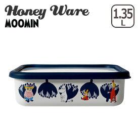 富士ホーロー 浅型角容器 L ムーミン&フラワーシリーズ MTA-L Honey Ware ハニーウェア ギフト・のし可 琺瑯