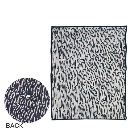 KLIPPAN クリッパン オーガニックコットン&シュニール織り ブランケット 140x180 2CATS ネコ ネイビーブルー ギフト可