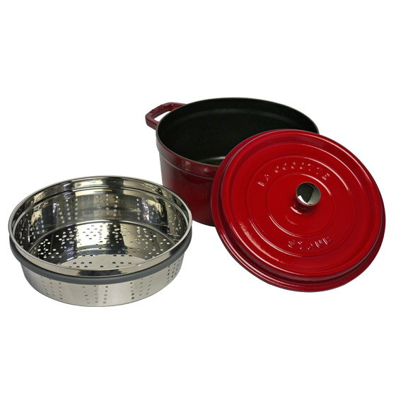 staub staub pico cocotte round 26 cm steamer set red enameled pot steamer at cocotte round with steamer