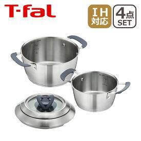 ティファール T-fal IH対応 ステンレス製 シチューパン(両手鍋)&ガラス蓋セット オベーション 16/20cm C815S2