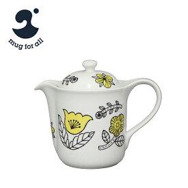 【Max1,000円OFFクーポン】ポイント5倍!mug for all 松尾ミユキ Vポット イエロー 草花