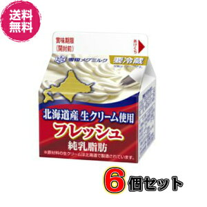 【送料無料】フレッシュ 北海道産生クリーム200ml×6個セット