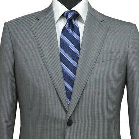 春夏 ロンナー(ゼニア生地) メンズスーツ JPクラシックモデル シングル2ボタン R(A)・C(AB) グレー(シャドーストライプ) 日本製 紳士服 メンズ LONNER 7k010152-4601j