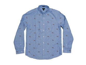 J.CREW j. crew Slim vintage oxford shirt with embroidered St. Bernards slim vintage shirt Oxford with embroiled Saint Bernard (BLUE)