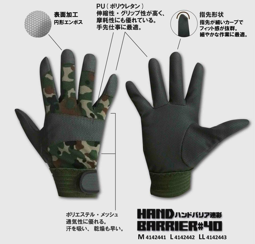 作業手袋 ハンドバリア 迷彩 10双組 ポリウレタン手袋 シモン